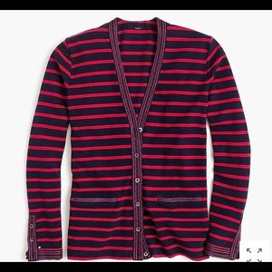 J. Crew Metallic-trimmed striped cardigan sweater